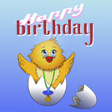 Cartoon chicken in the eggshell . Happy birthday greeting card design. birthday card. Happy birthday baby Royalty Free Stock Photos