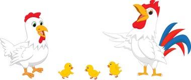 Cartoon chicken family. Vector illustration of Cartoon chicken family  on white Stock Images