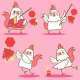 Cartoon chicken with firecracker. For happy chinese new year firecracker Stock Photography