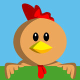Cartoon chicken holding banner Stock Photo