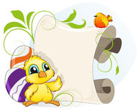 Easter invitation with chicken and eggs Royalty Free Stock Photos