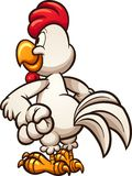 Cartoon chicken looking at something. Seen from the back. Vector clip art illustration with simple gradients. All in a single layer Stock Image