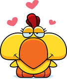 Cartoon Chicken Love. A cartoon illustration of a little chicken with an in love expression Stock Images