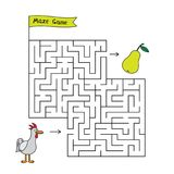 Cartoon Chicken Maze Game. Funny game for children education Stock Photography
