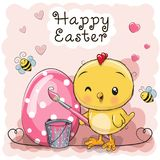 Cartoon Chicken paint on the egg. Cute cartoon Chicken paint on the egg Royalty Free Stock Image