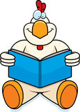 Cartoon Chicken Reading Royalty Free Stock Images