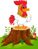Cartoon chicken rooster. On tree stump Stock Image