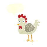 cartoon chicken with speech bubble Royalty Free Stock Image