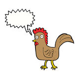 cartoon chicken with speech bubble Stock Images