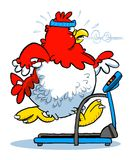 Cartoon chicken on treadmill Royalty Free Stock Image