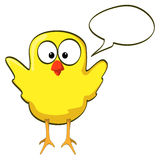 Cartoon chicken wings up yellow Stock Images