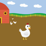 Cartoon chickens on farm Stock Image