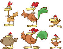 Cartoon chickens. Illustrated set of cartoon chickens isolated on white background stock illustration