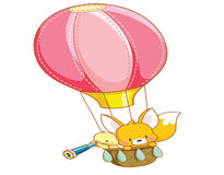 Cartoon chicks and cute squirrel air balloon ride Stock Photography
