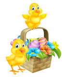 Cartoon Chicks and Easter Eggs Basket Stock Images