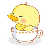 Cartoon chicks pose in the cup Stock Photo