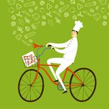 Cartoon chief baker with baguette on bicycle Royalty Free Stock Images