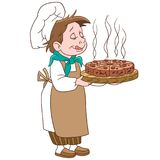 Cartoon chief cook with cake or pizza Royalty Free Stock Image