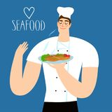 Cartoon chief holding plate with fried fish. Colorful illustration with seafood title for your design Royalty Free Stock Photo