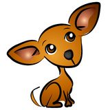 Cartoon Chihuahua Dog Clip Art. A small brown chihuahua dog cartoon clip art illustration with classic big ears. Body and head are out of proportion to emphasize Royalty Free Stock Image