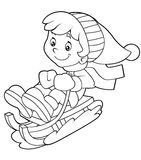 Cartoon child - activity - illustration for the children. Beautiful illustration of a cartoon child being active Royalty Free Stock Photo