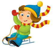 Cartoon child - activity - sliding. Happy and colorful illustration for the children Stock Photography