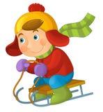 Cartoon child - activity - sliding Royalty Free Stock Image