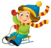 Cartoon child - activity - sliding Royalty Free Stock Photography
