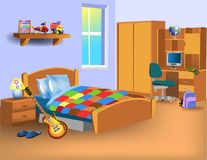 Cartoon child bedroom with computer on desk, toys and electric guitar