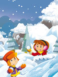Cartoon child boy and girl having fun playing snow fight Stock Photography