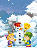 Cartoon child boy and girl making happy and big snowman Stock Photography