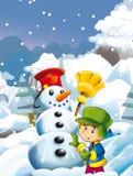 Cartoon child boy making happy and big snowman Royalty Free Stock Photos