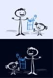 Cartoon child & dad Royalty Free Stock Photo