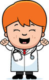 Cartoon Child Doctor Celebrate Stock Images