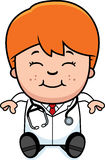 Cartoon Child Doctor Sitting Stock Image