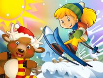 The cartoon child downhill jump - with christmas characters Stock Photo