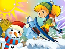 The cartoon child downhill jump - with christmas characters Royalty Free Stock Photo