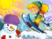 The cartoon child downhill jump - with christmas characters Royalty Free Stock Images
