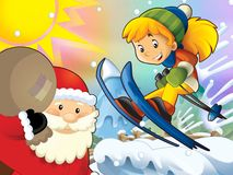 The cartoon child downhill jump - with christmas characters Stock Photos