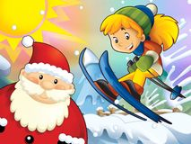 The cartoon child downhill jump - with christmas characters Royalty Free Stock Image
