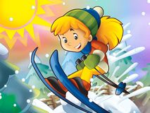 The cartoon child downhill jump - with christmas characters Royalty Free Stock Photos