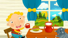 Cartoon child is eating breakfast with his friend cat Royalty Free Stock Photos