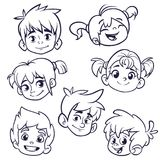 Cartoon child face icons. Vector set of children or teenagers heads outlined. Cutout illustration. Cartoon child face icons. Vector set of children or teenagers royalty free illustration