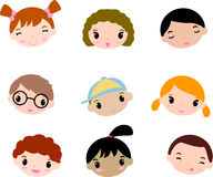 Cartoon child faces Royalty Free Stock Photos
