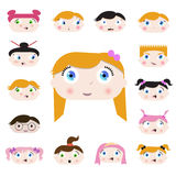 Cartoon child faces Royalty Free Stock Photo