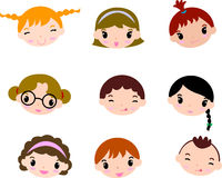 Cartoon child faces set Royalty Free Stock Photos