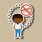 cartoon child fast food danger symbol Royalty Free Stock Photography