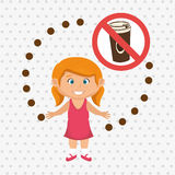 cartoon child girl fast food danger symbol Stock Photo