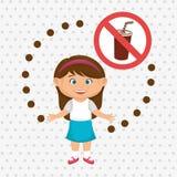 cartoon child girl fast food danger symbol Stock Photo