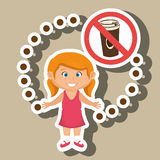 Cartoon child girl fast food danger symbol Royalty Free Stock Photos